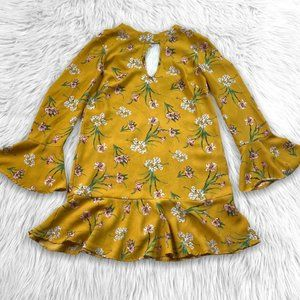 Xhilaration Floral Boho Tunic Dress Size S Yellow